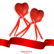 Valentines Day concept. Red hearts with ribbon isolated on white background with sample text — Stock Photo #64601881