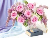 Mother Day (still life with huge bunch of roses and lilac flowers, book, cup and milk jug isolated on white background) — Стоковое фото
