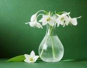натюрморт с букетом лилии в вазе на артистическом фоне — Стоковое фото