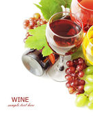Red and white wine and grapes with fresh leaves isolated on white background with sample text — Stock Photo