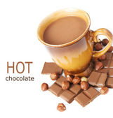 Hot chocolate drink with chocolate bar, cakes and nuts isolated on white background with sample text — Foto de Stock