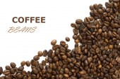 Coffee beans background isolated white with sample text — Stock Photo