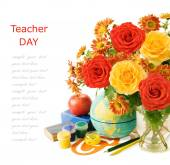 Teacher day (flowers bunch, books and map isolated on white background with sample text) — Stock Photo