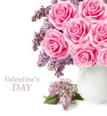 Valentine's Day (lilac flowers and roses bunch in vase isolated on white background with sample text ) — Stock Photo