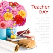 Teacher Day (still life with huge bunch of roses,asters and peonies, globe, map, book and sharpener isolated on white background) — Stock Photo #65160393