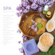 Lilac spa (fresh lilac flowers,spa salt, zen stones, Herbal massage balls, towel) on a wooden bord (with easy removable text) — Stock Photo #65350653