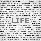 Background with Life headline and tags on business news topic. Closeup poster. Concept . — Stock Photo