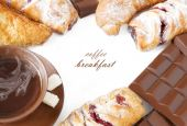 Tea breakfast (still life with tea cup, sugar, sweets and croissant isolated on white background with sample text) — Stock Photo