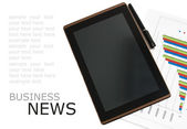 Workplace with digital tablet pc, pen and diagram on work table with sample text. Business news concept — Stock Photo