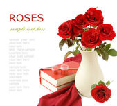 Teacher Day (bouquet of red roses, books, paints and brush isolated on white with sample text) — Stock Photo