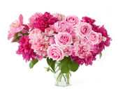 Peony and roses bunch isolated on white background — ストック写真