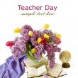 World Teacher Day (with bunch of lilac, tulips, books and globe isolated on white with sample text) — Stock Photo #66627761