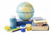 World Teacher's Day (still life with book pile, globe and colorful pencil on white background) — ストック写真