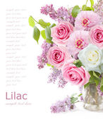 Lilac flowers, roses and tulips bunch in vase isolated on white background — Stock Photo