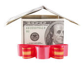 Dollar house with red bow isolated on a white background — Stock Photo