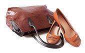 女性の靴と白のハンドバッグのペア。レザーグッズ — ストック写真