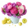 Still life with huge bunch of roses and asters and fruits — Stock Photo #69815003