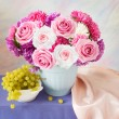Still life with huge bunch of roses and asters and fruits — Stock Photo #69815009