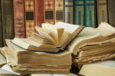 Book shelf with antique books isolated on white background — Stock Photo
