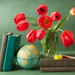 World Teacher's Day (still life with tulips bunch, book pile, globe and pencil) — Stock Photo #71744773