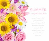 Rose, aster and lily background isolated on white with sample text — Stock Photo
