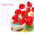 World Teacher's Day (still life with tulips bunch, book pile, globe and pencil) — Stock Photo #74080399