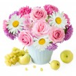 Still life with aster and roses bunch and fruits on artistic background — Stock Photo #75960823