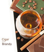 Brandy and cigar isolated on white background with sample text — Stock Photo