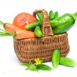 Fresh vegetables in basket isolated on white background — Stock Photo #52298567