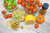 Food for the preparation of vegetable salad — Stock Photo