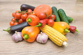 Vegetables on a wooden background close up — Stock Photo