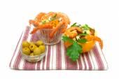 Vegetable salad, shrimp and olives on a white background — Stock Photo