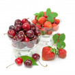 Fresh strawberries and juicy cherry isolated on a white backgrou — Stock Photo #59433619