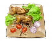 Woodcocks fried with vegetables on a plate. white background. — Stock Photo