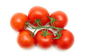 Bunch of ripe red tomatoes closeup on a white background — Stock Photo
