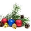 Christmas toys, pine cones and pine branches on a white backgrou — Foto Stock #64755081