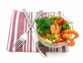 Vegetable salad with shrimps isolated on white background — Stock Photo
