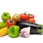 Still life of fresh vegetables isolated on white background — Stock Photo #72145871