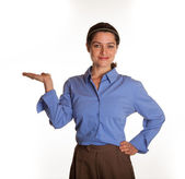 Female Spokesperson with upturned palm — Stock Photo