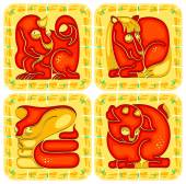 Chinese horoscope animal set. Dragon, Snake, Horse and Sheep — Stock Vector