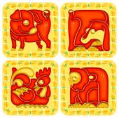 Chinese horoscope animal set. Monkey, Rooster, Dog and Pig — Stock Vector