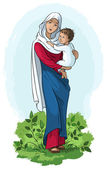 Virgin Mary holding baby Jesus — Stock Vector