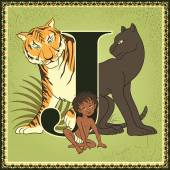 Vintage fairytale book alphabet. Letter J. The Jungle Book by Rudyard Kipling — Stok Vektör