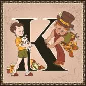 Vintage fairytale book alphabet. Letter K. Karlsson on the Roof by Astrid Lindgren — Stock Vector