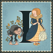 Vintage fairytale book alphabet. Letter I. The Birthday of the Infant by Oscar Wilde — Stockvektor