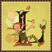 Vintage fairytale book alphabet. Letter L. Pippi Longstocking by Astrid Lindgren — Stock Vector