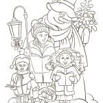 Christmas choir. Carol singers. Outlined illustration — Stock Vector #58218955