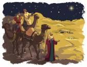 Three wise men following the star of Bethlehem — Stock Vector