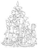 Children Decorating a Christmas Tree — Wektor stockowy