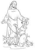 Jesus healing a lame man. Colouring page. Also available colored version — Stock Vector